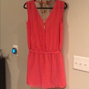 NWT Naked Zebra coral cinched dress